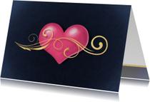Hart met gouden krul liefde kaart