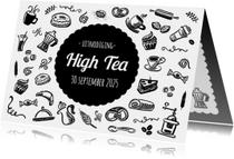 High Tea Uitnodiging Zwart Wit