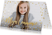 Hippe communie uitnodigingskaart met eigen foto en confetti