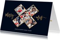 Hippe fotocollage kerstkaart met 5 fotos gouden X