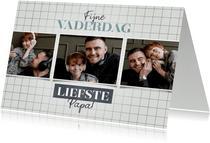 Vaderdag kaarten - Hippe fotocollage vaderdag kaart met raster en typografie
