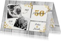 Hippe jubileumkaart 50 jaar met hout, gouden takjes & foto's