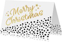 Hippe kerstkaart diagonaal met zwarte stippen en goud