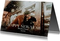 Hippe kerstkaart met grote foto en happy new year