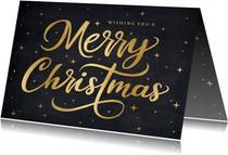 Hippe kerstkaart met sierlijke gouden tekst merry christmas