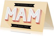 Hippe moederdag kaart typografie mam en banners