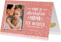 Hippe moederdagkaart met foto, handlettering & hartjes kader