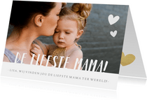Hippe moederdagkaart met grote eigen foto en liefste mama