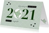 Hippe nieuwjaarskaart duifje liefdevol & hoopvol 2021