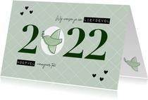 Hippe nieuwjaarskaart duifje liefdevol & hoopvol 2022