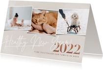 Hippe nieuwjaarskaart foto's healthy new year 2022 op beige