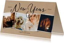 Hippe nieuwjaarskaart met fotocollage op papierlook