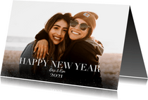 Hippe nieuwjaarskaart met grote foto en happy newyear