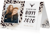 Hippe nieuwjaarskaart met taupe panterprint en eigen foto