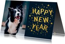 Hippe nieuwjaarskaart met typografie, sterren en foto