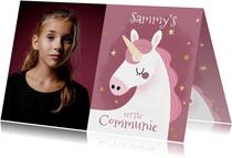 Hippe uitnodiging communie met eenhoorn, sterren en foto