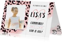 Communiekaarten - Hippe uitnodiging eerste communie - roze panterprint