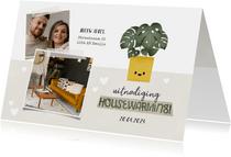 Hippe uitnodiging housewarming met plantje, foto's & hartjes