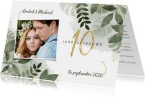 Jubileumkaarten - Hippe uitnodiging jubileum 10 jaar met planten en waterverf