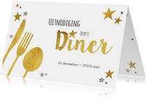 Hippe uitnodiging (kerst) diner goud sterren en bestek