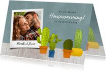 Hippe uitnodiging voor een housewarming met cactussen & hout