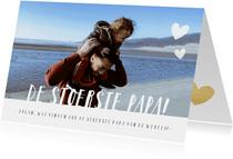 Hippe vaderdagkaart met grote foto en tekst de stoerste papa