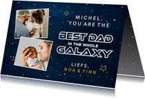 Hippe vaderdagkaart met ruimte thema best dad in the galaxy