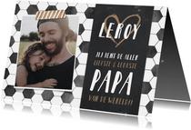 Hippe vaderdagkaart met voetbal thema en eigen foto