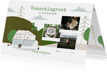 Hippe vakantiekaart kamperen in de bergen en fotocollage