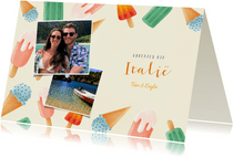Hippe vakantiekaart met ijsjes, foto's en tekst groeten uit