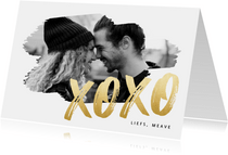 Hippe valentijnskaart met grote foto en gouden XOXO