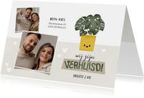 Hippe verhuiskaart met foto's, plantje en hartjes
