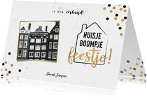 Hippe verhuiskaart met huisje boompje feestje en foto