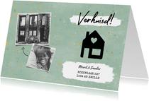Hippe verhuiskaart met huisje, verf, spikkels en foto's