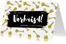 Hippe verhuiskaart met sleutelpatroon en typografie
