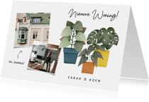 Hippe verhuiskaart nieuwe woning met planten en foto's