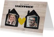 Hippe verhuiskaart 'samenwonen' met huisjes, foto's & hartje