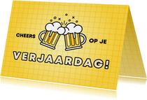 Hippe verjaardagskaart cheers op je verjaardag met bier