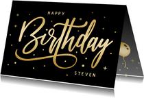 Hippe verjaardagskaart handlettering goud met zwart