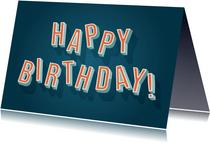 Hippe verjaardagskaart retro 'Happy Birthday'