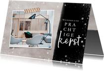 Hippe zakelijke kerstkaart met foto, sneeuw en kerstwens