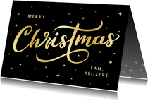 Hippe zwarte kerstkaart met goudlook letters merry christmas