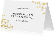 Hochzeit Karte Glückwunsch Goldherzen