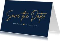 Hochzeit Save-the-Date-Karte klassisch Dunkelblau
