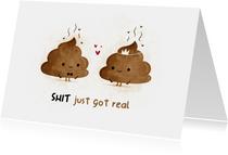 Hochzeits-Glückwunschkarte 'Shit just got real'