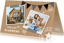 Housewarming uitnodiging fotocollage kraftprint