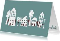 Verhuiskaarten - Huisje boompje blauw