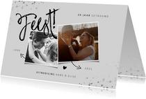 Huwelijksjubileum uitnodiging zilver met foto's