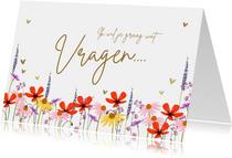 'Ik wil je wat vragen' bruidsmeisje kaart met zomerbloemen