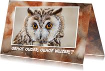 Jarigkaart met uilen wijsheid